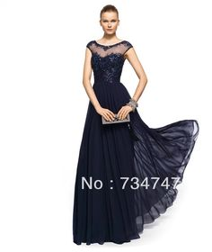 Sexy Sheer Top Evening Dress Formal Gown Elegant Cap Sleeves With Lace Applique Sequins Corset Chiffon Fabric Zipper Back Classy $87.00