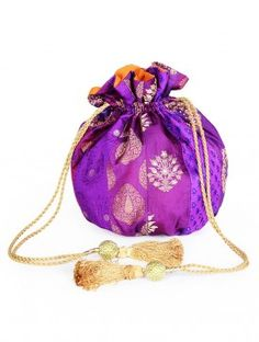 Purple-Golden Brocade Potli