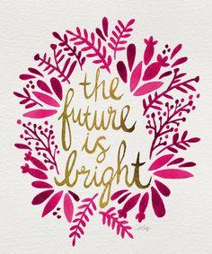 The future is bright inspirational quote word art print motivational poster black white motivationmonday minimalist shabby chic fashion inspo typographic wall decor