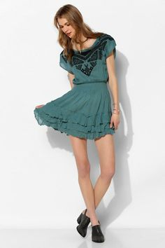 Ecote Embroidered-Top Tiered Gauze Dress #urbanoutfitters