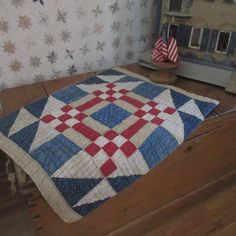 Doll Quilt, Primitive Country, Blue Quilts, Fresh And Clean, Red White Blue, Country Decor, Table Runners, Decorating, Blanket