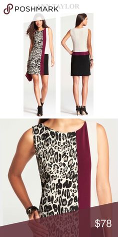 New List* Ann Taylor Leopard Jacquard Lightly lined sheath dress in size 6P (petite). Leopard shell 69% polyester, 28% rayon, 3% spandex. Shell 81% polyester, 13% rayon, 6% spandex. Lining is 100% polyester. Dry clean only. Great way to snazz it up at the office! Last pic shows the very minor pulls from being on display. Only noticeable when ur looking for them. I don't think anyone would ever notice when worn and this would still be sold in store. Ann Taylor Dresses