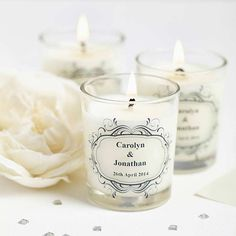 These elegant scented wedding favour candles from Hearth & Heritage can be customised with the scent of your choice.