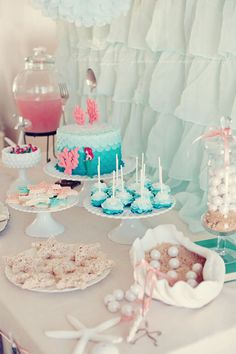 Ariel-inspired mermaid birthday party, except I will just do a mermaid theme I think. When I have a little girl, she is DEFINITELY having a mermaid party.