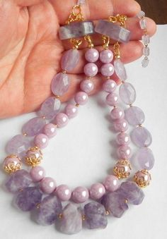 Amethyst & Shell Pearls Necklace