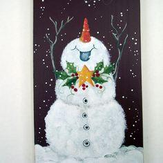 Noël est sur son chemin!  La joie pure de l'hiver est parfois difficile à retenir, même pour votre bonhomme de neige yard devant tous les jours! Un complément parfait à votre maison cet hiver de décoration ou pour offrir en cadeau.  Cette photo est d'une idée de Chris Thornton que j'ai repensé pour cette peinture. Il est peint à la main avec des peintures acryliques. Il est difficile de dire par les photos, mais le fond est une basse-cour riche rouge. Il mesure 5 1/2 de large x 17  de haut…