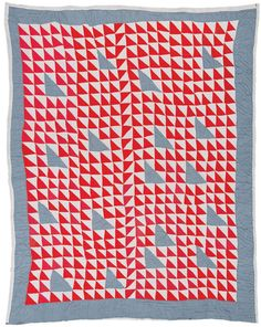 """Quilts of Gees Bend / Annie Bendolph, """"Thousand Pyramids"""" variation, ca. cotton sacking and chambray, 83 x 70 inches. Antique Quilts, Vintage Quilts, Gees Bend Quilts, Make Do, Red And White Quilts, Half Square Triangle Quilts, American Quilt, Textiles, Triangles"""