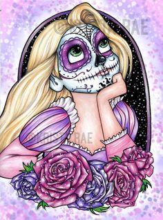 Impresión del arte de Rapunzel azúcar cráneo por KristaRaeArt