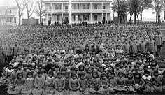 """Hundreds of Native American children taken from their homes...their parents, and sent to boarding schools to learn English, have their hair cut off, and become """"True"""" Americans. This makes me so sad....."""