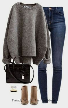 SHOP THE LOOK - casual winter outfit - cute booties - chunky sweater - . - SHOP THE LOOK – casual winter outfit – cute booties – chunky sweater – - Winter Outfits For Teen Girls, Casual Winter Outfits, Fall Outfits, Outfit Winter, Stylish Outfits, Winter Fashion Outfits, Dress Casual, Classy Outfits, Fasion