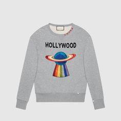 buy online d57ab 203fa Gucci Cotton sweatshirt with planet Sudaderas Para Hombre, Sudaderas Para  Hombres, Sudadera De Cuello