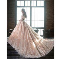 2017 Middel East Royal Boat Neck Princess Wedding Dress Full Sleeves Pink 3D Flowers Vestido Button Bride Gown Robe De Mariee