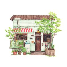 Hattifnatt Cafe in Tokyo - Original Painting — Justine Wong: Toronto Freelance Illustrator Building Illustration, House Illustration, Watercolor Illustration, Illustrations, Portrait Illustration, Watercolor Sketch, Watercolor Print, Watercolor Art Paintings, Original Paintings