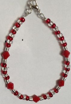 Opaque red beaded bracelet | Bnbcrafts - Jewelry on ArtFire