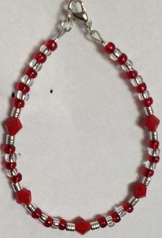 Opaque red beaded bracelet | Bnbcrafts - Jewelry on ArtFire