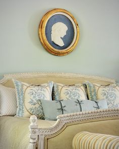 Cameron | Gray Walker Interiors #interiordesign #decorating #homedecor #homeideas #bedroom #cameo #intaglio #blue
