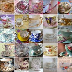Collect mismatched tea cups, saucers and dessert plates for the garden tea party reception.