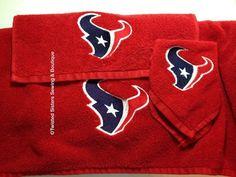 Houston Texans red towel set ( 1 bath towel 30x54, 1 hand towel, 1 face cloth)  $50 per set plus shipping
