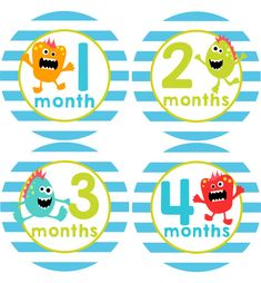 Monsters Baby Month Stickers Boys