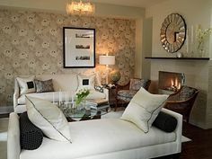 """Sarah Richardson Design; one couch & one """"daybed"""", round mirror and mantel decorations"""