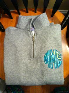 Monogrammed adult 1/4 zip sweatshirt.  $35.  Wee 3 Busy Bees