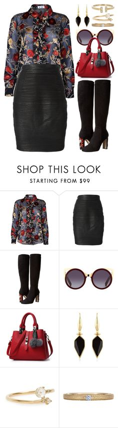 """Tall Boots (outfit only) 2350"" by boxthoughts ❤ liked on Polyvore featuring The Bee's Sneeze, Versace, Dolce&Gabbana, Isabel Marant, WWAKE, De Beers and Loren Stewart"