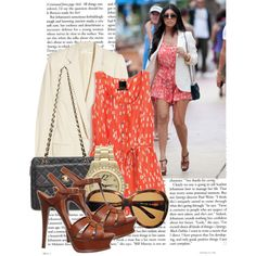 orange romper, brown YSL, Chanel bag, white blazer