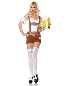 """Lil Miss Lederhosen Adult Womens Costume / """"Oh, no! They've all become giant Swiss lederhosen-clad dancing yodelers!"""""""