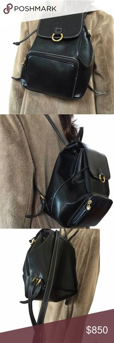 Lancel backpack! Black with saddle stitches Exact measurements to come. Fantastic versatile, side zipper for quick entry into main compartment. Used 2x very minor scuff on flap not really noticeable. LANCEL Bags Backpacks