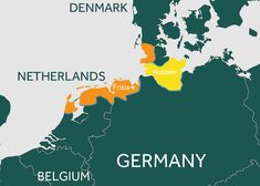 An illustrated map of Europe showing Denmark, Netherlands, Belgium and Germany, with parts of the Netherlands and Germany highlighted to show where Holstein cows originally came from