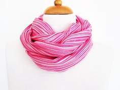 Pink and White Striped Cotton Scarf / Loop by mediterraneanlights, $16.90