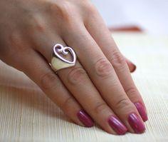 Sterling Silver Heart Ring Silver Heart Ring Love by Alyssasdreams