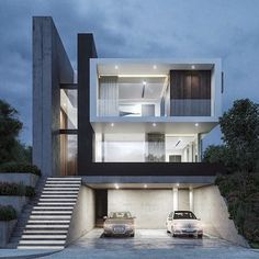 Contemporary mexican architecture project by kristalika design dream house ideas Facade Design, Exterior Design, Architecture Design, Bungalow House Design, House Front Design, Minimalist House Design, Modern House Design, Modern House Facades, Dream House Exterior