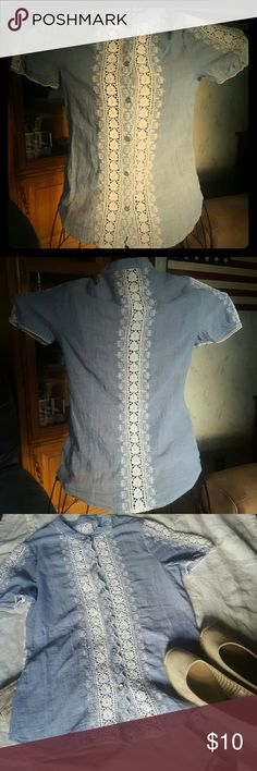 SALEBlue Cotton Shirt with White Crochet This came to me in a mystery bundle. I really like the shirt it's just to small on me. There is no brand or size tag. But I wear S/XS. And it's tight on me. So it's very small. Probably an xs/xxs. It's 100% yarn dyed cotton. It has crochet insets down the front, back, and on the sleeves. It has a mandarin collar and mother of pearl buttons down the front. Tops Blouses
