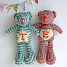 Personalized Chunky Hand Knitted Teddy Bear by boobiloo on Etsy, $60.00
