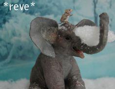 OOAK Realistic Miniature ~ Baby Elephant & Mouse ~ Handmade Dollhouse 1:12