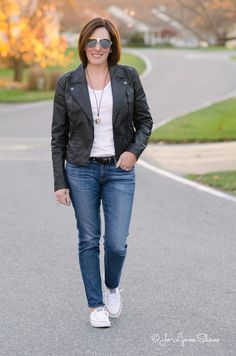I love this Casual Weekend Outfit: Converse, AG Stilt Legging Jeans, Moto Jacket, and a simple white tee. Easy and chic!