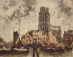 Jan Sirks - Dordrecht, de haven met grote kerk