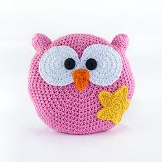 Crochet Pillow Owl - Crochet Cushion Owl - Nursery Decor -  Home Decor - Girl Decor - Custom Colors. $45.00, via Etsy.
