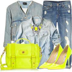 denim and neon accessories