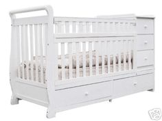 Daphne 2 In 1 Convertible Crib With Attached Dresser / Changing Table And  Bottom Drawers