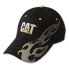 526e85ee3dac4 Caterpillar CAT Cap with Silver   Yellow Flames