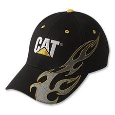 Caterpillar CAT Cap with Silver   Yellow Flames 24fe4010d4ed