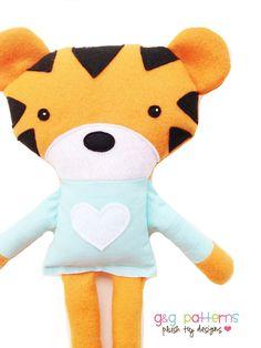 Toy Sewing Pattern - Tiger Sewing Pattern - Tiger Doll Softie - PDF. $8.00, via Etsy.