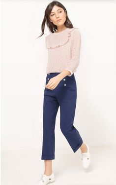 Blush ruffle printed blouse+navy straight-leg ankle pants+white Oxfor Shoes. Spring Casual Outfit 2017