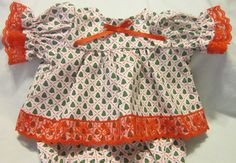 """Tiny Trees Print Dress/Bloomers fits 16-18"""" Cabbage Patch/Berenguer Babies #Handmadeinmysmokefreehome"""