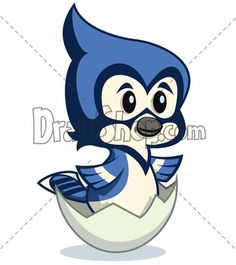 cartoon Blue Jay hatching from an egg