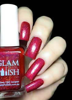 Glam Polish Broadway Collection swatches and review You Can't Stop the Beat is a bright red holo packed with gold holographic micro glitters.