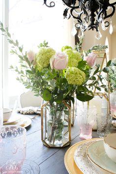 Gold lantern floral arrangement by Randi Garrett Design