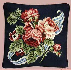 Vintage Needlepoint Handpainted Bucilla Ribbons Roses Rare Wool KIT